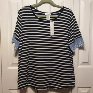 Striped Denim Embroidered Detailed Top NWT